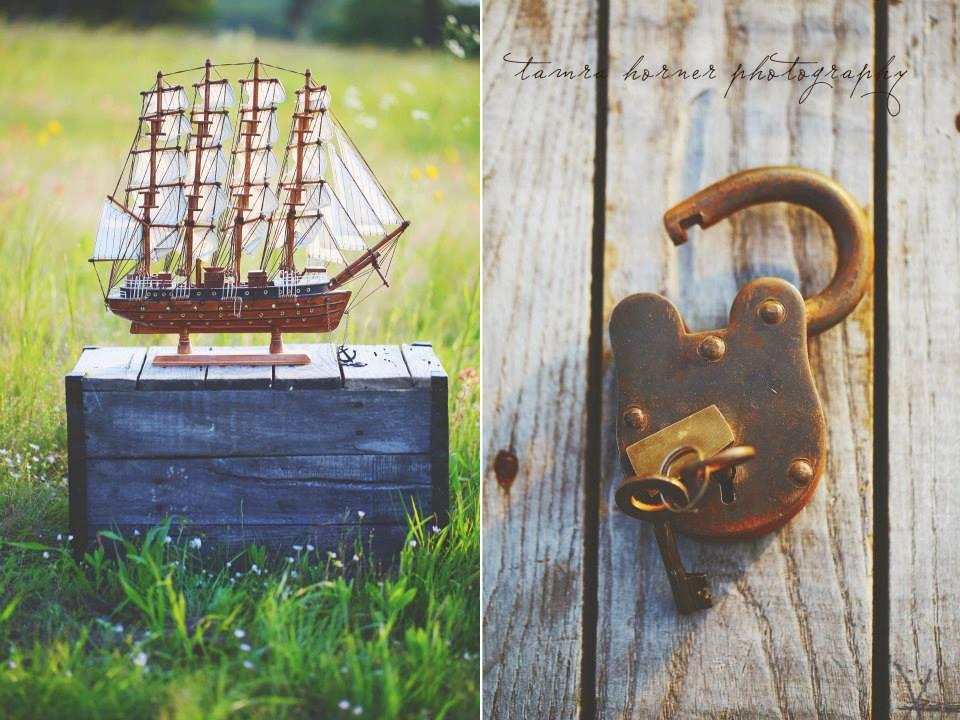 detail photos of model ship and vintage lock, mckinney texas photographer