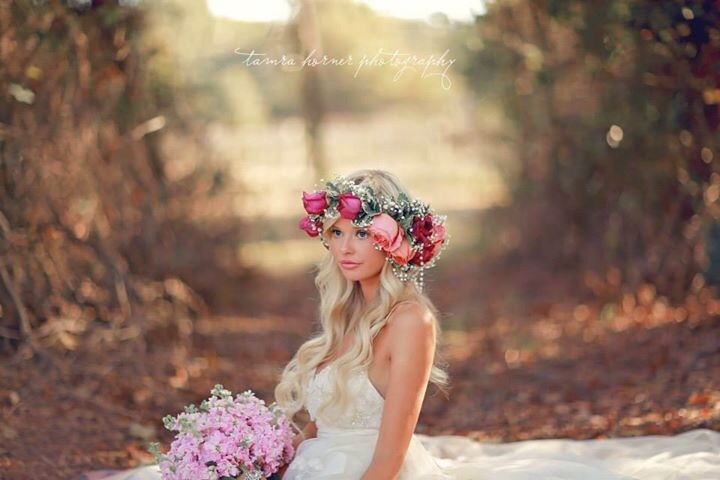 Bride Wearing A Flower Crown Outdoor Wedding Photography