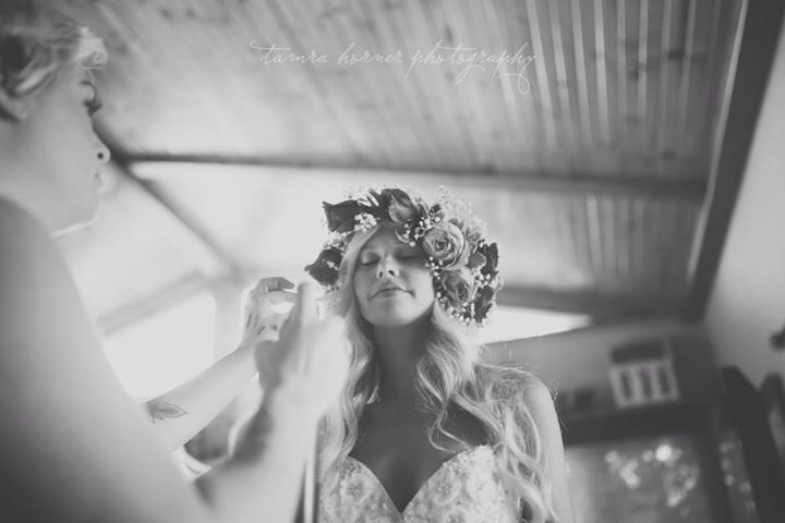bride wearing a flower crown oklahoma city wedding photographer