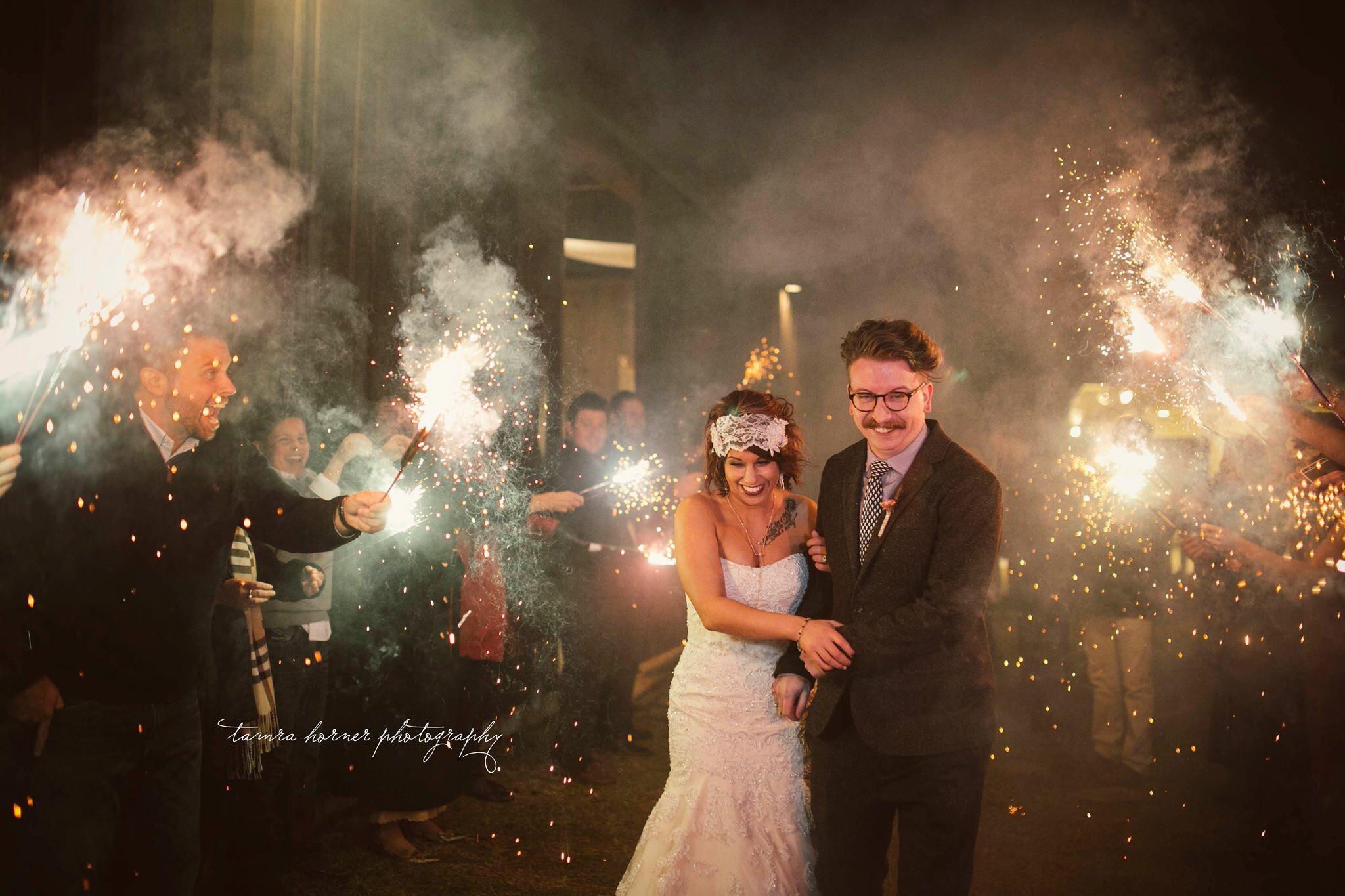 austin texas wedding photographer, sparkler exit